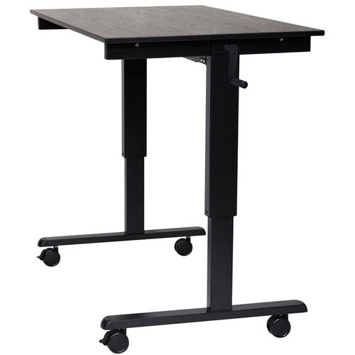 Our Adjustable Height Black Steel Frame Standing Desk with Crank Handle - Black Oak Top - 47.25