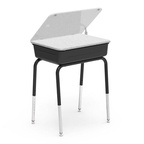 Our 751 Series Student Desk with Hard Plastic Lift Lid Top and Black Legs and Metal Bookbox - 18