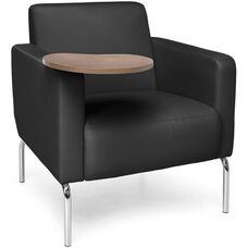 Triumph Lounge Chair with Tablet and Vinyl Seat with Chrome Feet - Black Seat with Bronze Finish Tablet