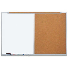 LCS Deluxe Combination Markerboard and Tackboard with Marker Tray and Map Rail - 96