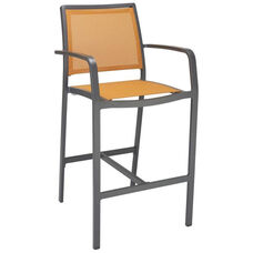 South Beach Collection Aluminum Outdoor Barstool with Arms and Textile Back - Citrus