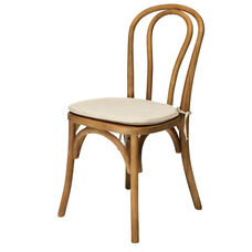 American Classic Sonoma Bentwood Stackable Chair with Burlap Cushion - Tinted Raw