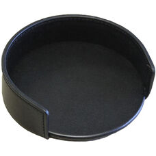 Classic Leather Round Coaster Holder - Black
