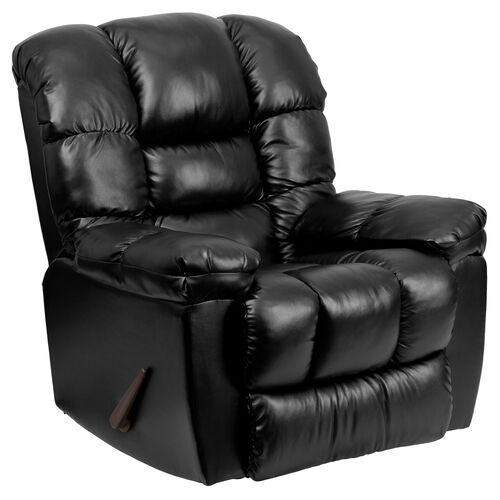 Contemporary New Era Black Leather Chaise Rocker Recliner