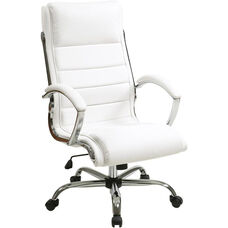 Work Smart Faux Leather Executive Office Chair with Thick Padded Seat - White