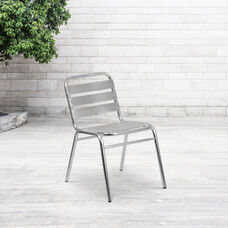 Commercial Aluminum Indoor-Outdoor Restaurant Stack Chair with Triple Slat Back