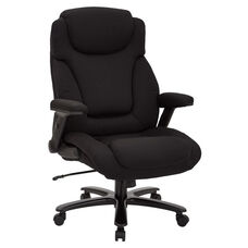 Pro-Line II Big and Tall Deluxe High Back Fabric Executive Office Chair with Padded Flip Arms - 400 lb. Weight Capacity - Black