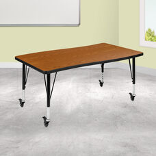 """Mobile 28""""W x 47.5""""L Rectangular Wave Collaborative Oak Thermal Laminate Activity Table - Height Adjustable Short Legs"""