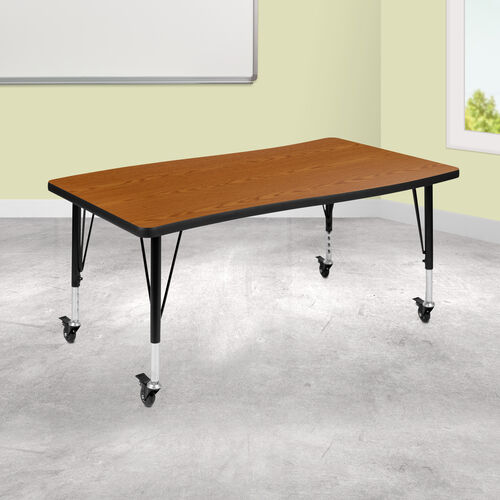 """Our Mobile 28""""W x 47.5""""L Rectangular Wave Collaborative Oak Thermal Laminate Activity Table - Height Adjustable Short Legs is on sale now."""
