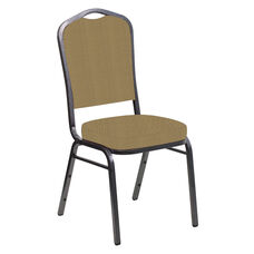 Embroidered Crown Back Banquet Chair in Mainframe Brushed Gold Fabric - Silver Vein Frame