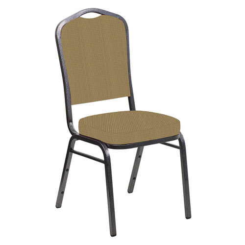 Our Embroidered Crown Back Banquet Chair in Mainframe Brushed Gold Fabric - Silver Vein Frame is on sale now.
