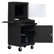 26'' W x 24'' D x 63'' H Mobile Computer Security Workstation with Slide Out Shelf and Work Surface - Black