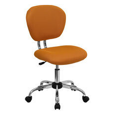 Mid-Back Orange Mesh Padded Swivel Task Office Chair with Chrome Base