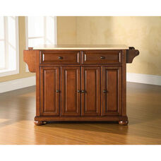 Natural Wood Top Kitchen Island with Alexandria Style Feet - Classic Cherry Finish