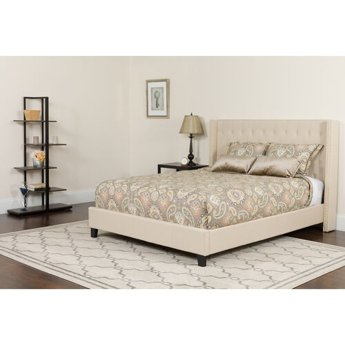 Our Riverdale Full Size Tufted Upholstered Platform Bed in Beige Fabric with Pocket Spring Mattress is on sale now.