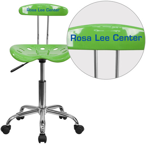 Our Personalized Vibrant Spicy Lime and Chrome Swivel Task Office Chair with Tractor Seat is on sale now.