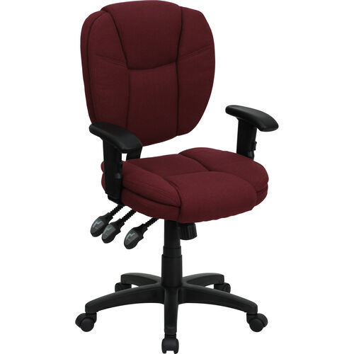 Our Mid-Back Burgundy Fabric Multifunction Swivel Ergonomic Task Office Chair with Pillow Top Cushioning and Arms is on sale now.