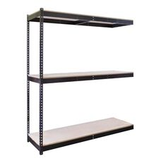 Rivetwell 3 Level Center Support Double Rivet Boltless Shelving Add On Unit with Particle Board - Unassembled - Black - 96