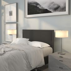 Melbourne Metal Upholstered Full Size Headboard in Black Fabric