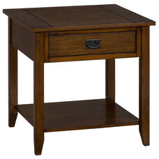 Mission Oak End Table with 1 Drawer and 1 Shelf