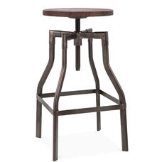 Machinist Rustic with Wood Seat Adjustable Barstool - 26