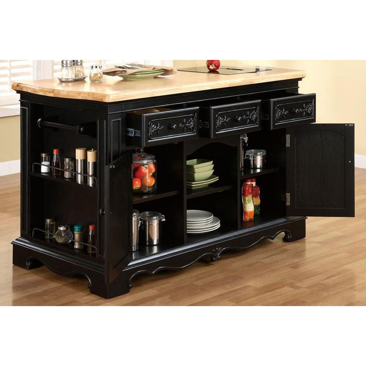 Pennfield Kitchen Island With Black Granite Removable