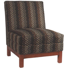 7401 Upholstered Armless Chair w/ Wood Platform Base - Grade 1