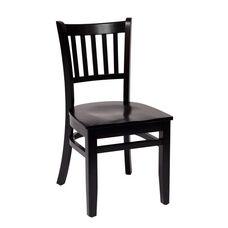 Delran Black Wood Slat Back Chair - Wood Seat