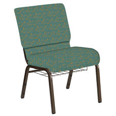Embroidered 21''W Church Chair in Circuit Turquoise Fabric with Book Rack - Gold Vein Frame