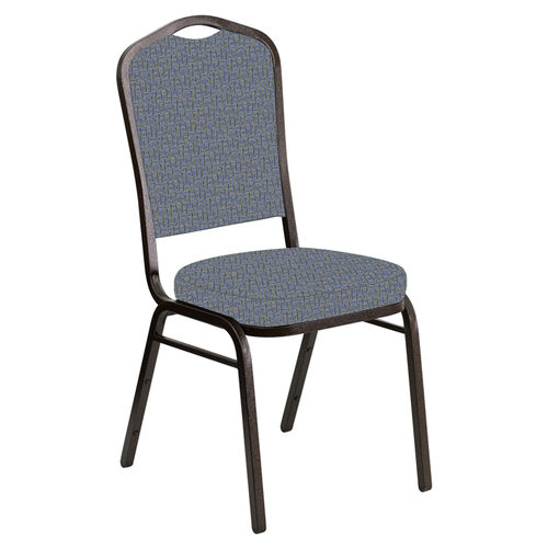Embroidered Crown Back Banquet Chair in Mirage Sky Fabric - Gold Vein Frame