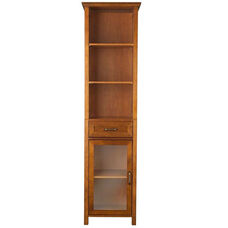 Avery Linen Cabinet with One Drawer and 3 Open Shelves - Oil Oak