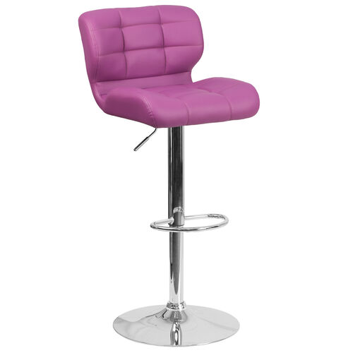 Our Contemporary Tufted Purple Vinyl Adjustable Height Barstool with Chrome Base is on sale now.