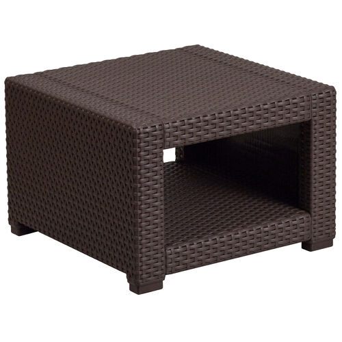 Our Chocolate Brown Faux Rattan End Table is on sale now.