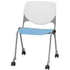 2300 KOOL Series Stacking Poly Silver Steel Frame Armless Chair with White Perforated Back and Casters - Sky Blue Seat