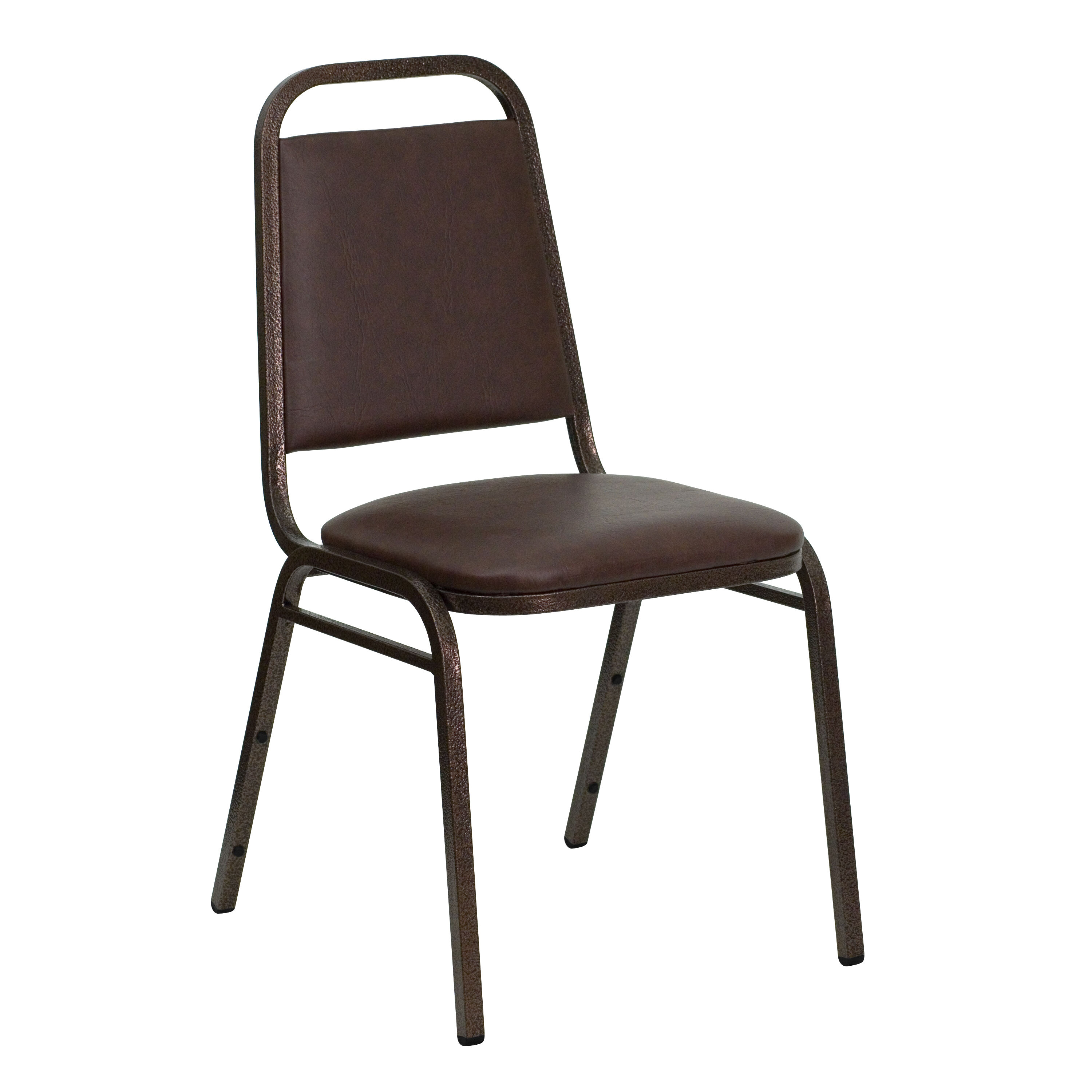 HERCULES Series Trapezoidal Back Stacking Banquet Chair In Brown Vinyl    Copper Vein Frame