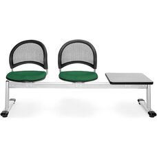 Moon 3-Beam Seating with 2 Forest Green Fabric Seats and 1 Table - Gray Nebula Finish