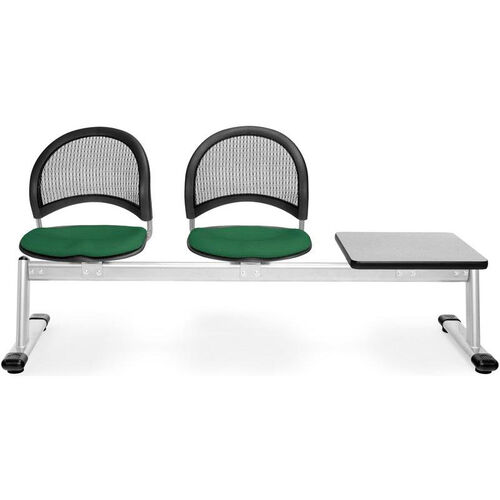 Our Moon 3-Beam Seating with 2 Forest Green Fabric Seats and 1 Table - Gray Nebula Finish is on sale now.