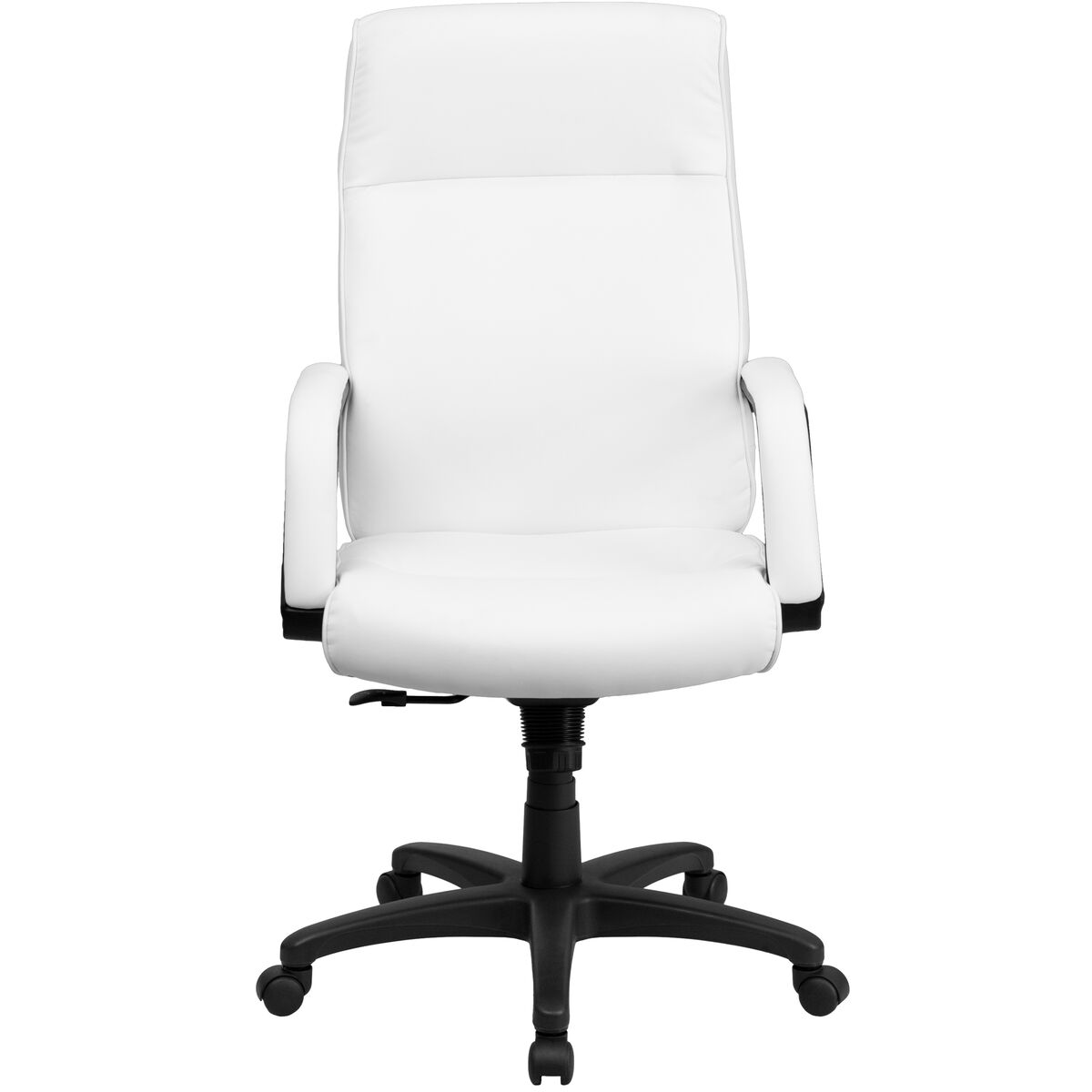 Our High Back White Leather Executive Swivel Chair With Memory Foam Padding Arms Is On
