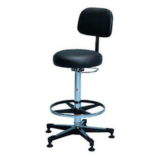 Pneumatic Lab Adjustable Height Stool with Padded Backrest - Black Vinyl