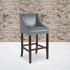 """Carmel Series 30"""" High Transitional Walnut Barstool with Accent Nail Trim in Light Gray LeatherSoft"""