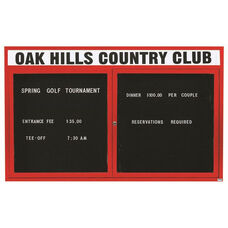 2 Door Outdoor Illuminated Enclosed Directory Board with Header and Red Anodized Aluminum Frame - 48