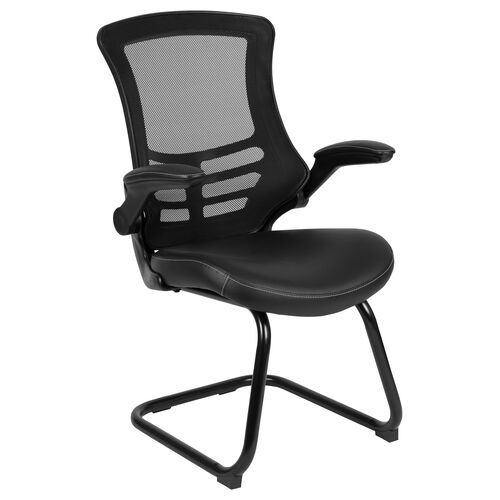 Our Black Mesh Sled Base Side Reception Chair with White Stitched LeatherSoft Seat and Flip-Up Arms is on sale now.