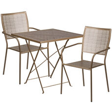 """Commercial Grade 28"""" Square Gold Indoor-Outdoor Steel Folding Patio Table Set with 2 Square Back Chairs"""