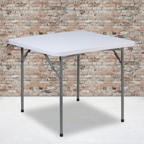2.81-Foot Square Granite White Plastic Folding Table