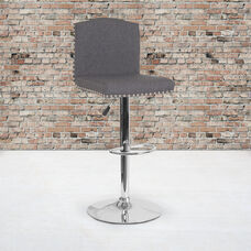 Bellagio Contemporary Adjustable Height Barstool with Accent Nail Trim in Gray LeatherSoft
