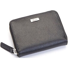 RFID Blocking Mini Fan Wallet - Saffiano Genuine Leather - Black
