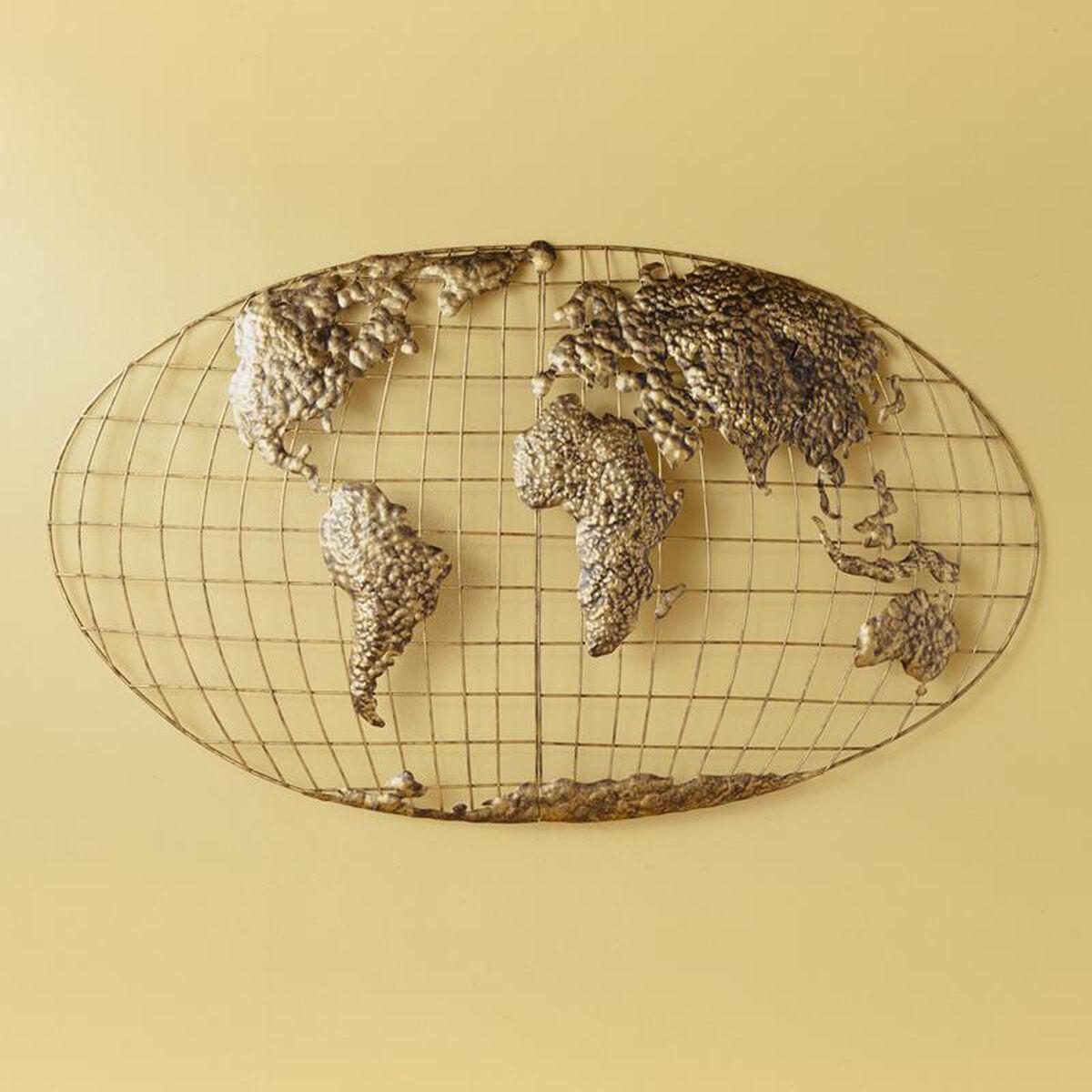 3D World Map Metal Wall Art GA1152R | Bizchair.com