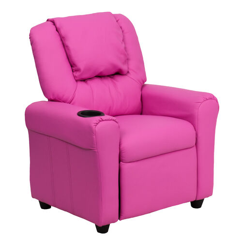 Our Contemporary Hot Pink Vinyl Kids Recliner with Cup Holder and Headrest is on sale now.