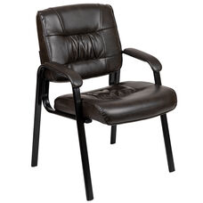 Brown LeatherSoft Antimicrobial / Antibacterial Medical Side Chair with Black Metal Frame