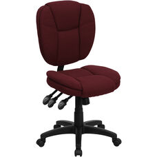 Mid-Back Burgundy Fabric Multifunction Swivel Ergonomic Task Office Chair with Pillow Top Cushioning